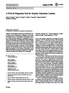 A TPACK Diagnostic Tool for Teacher Education Leaders