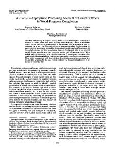 A Transfer-Appropriate Processing Account of Context Effects in Word ...