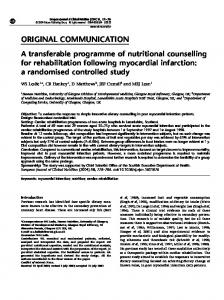 A transferable programme of nutritional counselling for rehabilitation ...