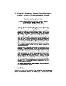 A Transitive Signature Scheme Provably Secure ... - Semantic Scholar
