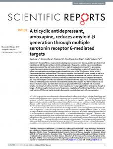 A tricyclic antidepressant, amoxapine, reduces ...