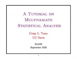 A Tutorial on Multivariate Statistical Analysis - UC Davis Mathematics