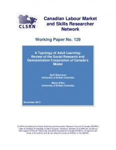 A typology of adult learning - Canadian Labour Market and Skills ...