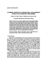 a unified approach to estimating and modeling linear and nonlinear ...