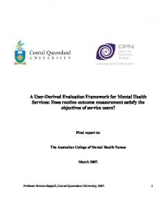 A User-Derived Evaluation Framework for Mental Health Services ...