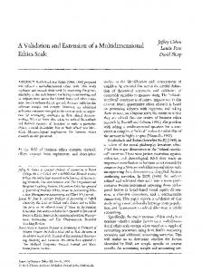 A validation and extension of a multidimensional ethics ... - Springer Link