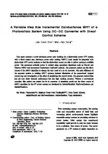 A Variable Step Size Incremental Conductance MPPT of a ... - kisti