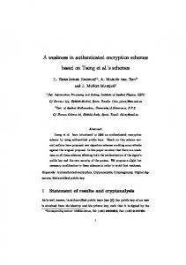 A weakness in authenticated encryption schemes based ... - CiteSeerX