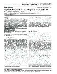 a web server for DupliPHY and DupliPHY-ML - Semantic Scholar