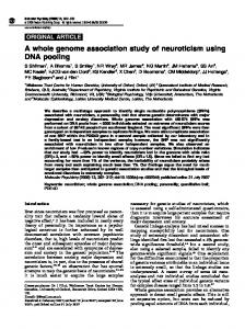A whole genome association study of neuroticism using DNA pooling