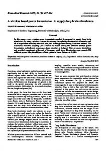 A wireless based power transmission to supply ... - Allied Academies