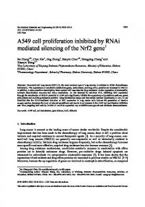 A549 cell proliferation inhibited by RNAi mediated ... - Semantic Scholar