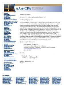 aaa-cpa position letter on marketplace fairness act - Florida Sales ...