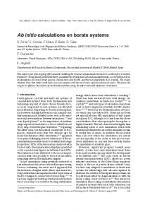 Ab initio calculations on borate systems