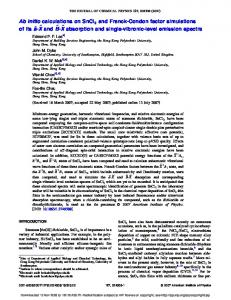 Ab initio calculations on SnCl2 and Franck ... - Semantic Scholar