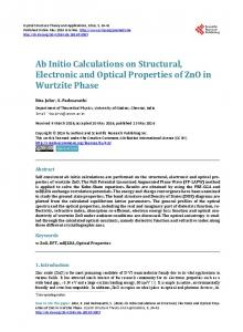Ab Initio Calculations on Structural, Electronic and Optical Properties