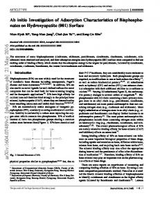Ab initio Investigation of Adsorption Characteristics of ...