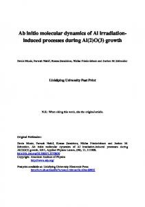 Ab initio molecular dynamics of Al irradiation-induced ... - DiVA