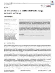 Ab initio simulations of liquid electrolytes for ... - Wiley Online Library