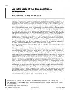 Ab initio study of the decomposition of formamidine - NRC Research ...