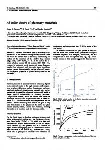 Ab initio theory of planetary materials