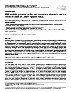 ABA inhibits germination but not dormancy release in mature imbibed ...