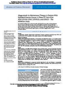 Abagovomab As Maintenance Therapy in Patients ...