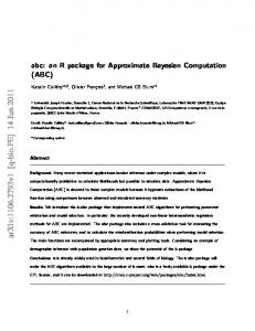 abc: an R package for Approximate Bayesian Computation (ABC)