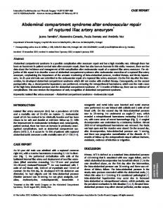 Abdominal compartment syndrome after endovascular repair of ...