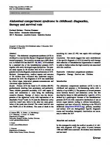 Abdominal compartment syndrome in childhood - Springer Link