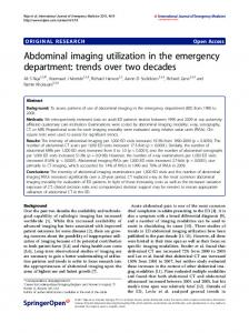 Abdominal imaging utilization in the emergency department: trends ...