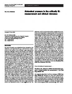 Abdominal pressure in the critically ill: measurement and clinical ...