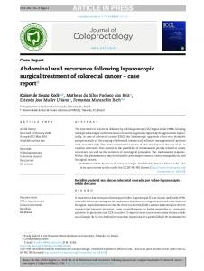 Abdominal wall recurrence following laparoscopic