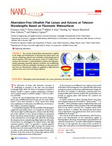 Aberration-Free Ultrathin Flat Lenses and Axicons at Telecom ...