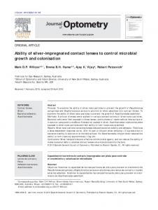 Ability of silver-impregnated contact lenses to control microbial ... - Core
