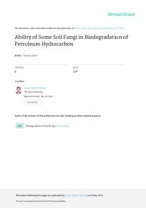 Ability of Some Soil Fungi in Biodegradation of Petroleum Hydrocarbon