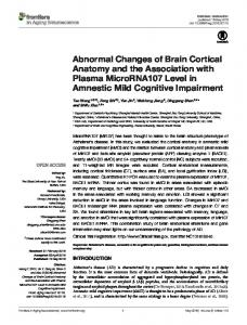 Abnormal Changes of Brain Cortical Anatomy and ... - Semantic Scholar