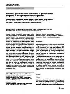 Abnormal ghrelin secretion contributes to ... - Springer Link