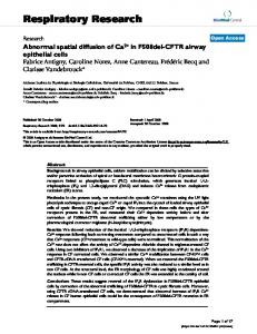 Abnormal spatial diffusion of Ca2+ in F508del-CFTR airway epithelial ...