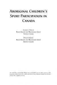 Aboriginal Children's Sport Participation in Canada - Pimatisiwin