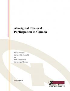 Aboriginal Electoral Participation in Canada