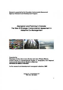 Aboriginal Land Planning In Canada