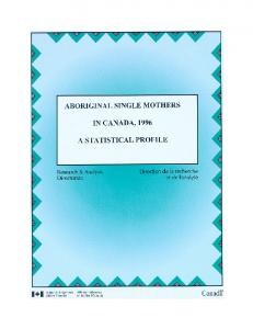 Aboriginal Single Mothers in Canada, 1996