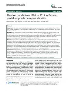 Abortion trends from 1996 to 2011 in Estonia: special ... - BioMedSearch