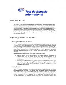 About the TFI test Preparing to take the TFI test