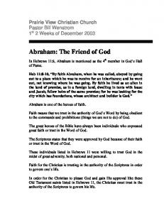 Abraham: The Friend of God - Wenstrom Bible Ministries