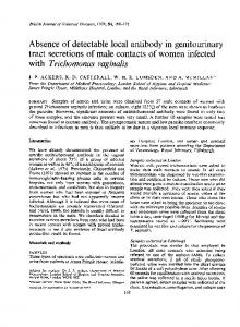 Absence of detectable local antibody in genitourinary with ... - NCBI