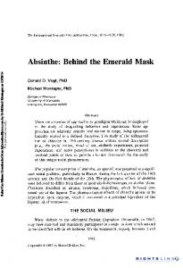 Absinthe: Behind the Emerald Mask