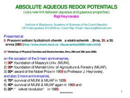 ABSOLUTE AQUEOUS REDOX POTENTIALS ( via a