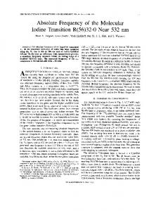 Absolute frequency of the molecular iodine transition R ... - IEEE Xplore